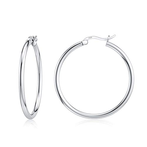 Sterling Silver Rounded Tube Hoop Earrings for Wife Women Fashion Jewelry Gift 30mm Nickel Free