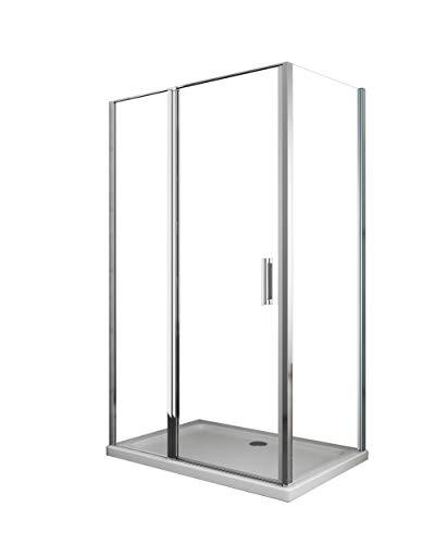 Cabina de ducha con pared lateral fija y frente con puerta batiente (64-67 fija x 117-120 pared + batiente (50+70))