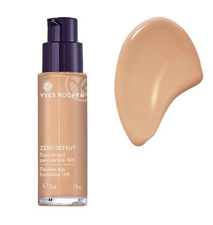 Yves Rocher COULEURS NATURE Make-up-Fluid PERFEKTE HAUT 14h Rosé teint médium, deckende Foundation, 1 x Glas Pump-Flacon 30 ml