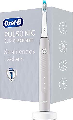 Oral-B Pulsonic Slim Clean 2000 - Cepillo de dientes eléctrico sónico (2 modos de limpieza, incluye aclarado, temporizador, 1 cabezal Pulsonic Clean, color gris