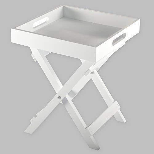 DRULINE Beistelltisch aus Holz Butler's Tray 30 x 30 x 36,5 cm Weiß