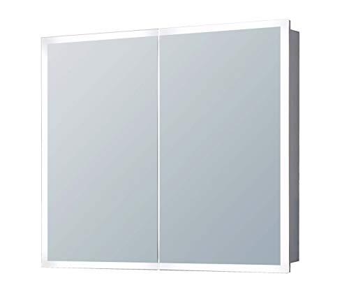 4E Design Spiegelschrank mit lichtleitenden Acryl-Streifen, ALU Korpus und verspiegelten Türen Badezimmerspiegel Wandspiegel Lichtspiegel (80 x 70 x 13,5 cm (BxHxT))