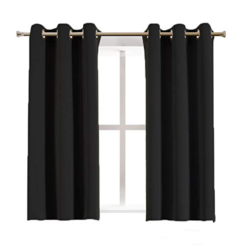 Aquazolax Blackout Curtain Panels for Bedroom Windows Thermal Insulated Grommet Top Blackout Draperies and Drapes, 2 Panels, 42 inch Wide x 45 inch Long, Black