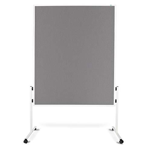 Moderationstafel Filz | doppelseitig | mit Rollen | Höhe: 185 cm | Farbe wählbar (grau) - 2