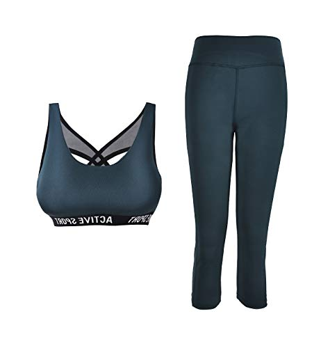 PF Conjunto de ropa deportiva para mujer Conjunto de gimnasio de 2 piezas Sujetador deportivo acolchado y leggings de 3/4 con bolsillos Ropa de gimnasia elástica Diseño italiano (9672-Green, S-M)