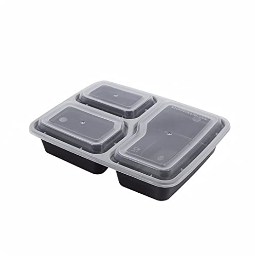 MJJCY 10 unids de plástico Reutilizable bento Caja de Comida Comida Comida preparación para Almuerzo 3 Compartimento Reutilizable contenedores microondas contenedores casa Almuerzo