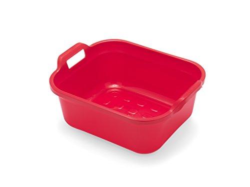 Addis rechteckige Spülschüssel mit Griffen, Plastik, rot, 39 x 32 x 14 cm