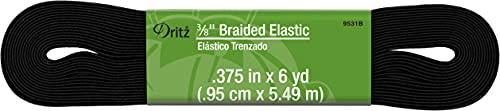 Dritz 3/8' Braided Elastic, 3/8-Inch by 6-Yard, Black
