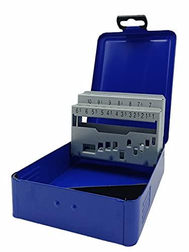 Kombi - Estuche porta brocas de metal de 19 plazas para taladro de 1 a 10 mm, herramienta de repuesto y caja de herramientas