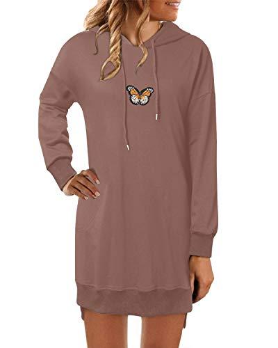 YOINS Femme Robe Pull Long Imprimé Papillon Hoodies avec Poches Sweats à Capuche Femme Robe Sweat Longue Automne Hiver Papillon-Rose L