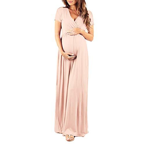 Transwen Schwangere Kleid, Damen Schwangerschaft V Kragen Kurzarm Kleid Mutterschaft Sommerkleid Mode Schwangerschaftskleid Langarm Maxi Kleid (L, Khaki)