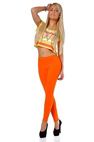 Leggings in 17 Farben Baumwolle Gr. S M L XL XXL 3XL Orange S/36