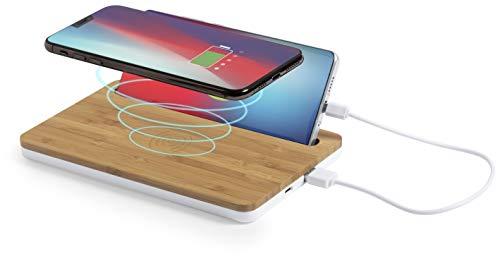 MKTOSASA - Bambus-Ladestation mit kabellosem Qi 5W-Lade- und Kabel, und Smartphone-Unterstützung. Laden Sie 2 Geräte gleichzeitig auf. Smartphones, Tablets, Kopfhörer, Smartwatches