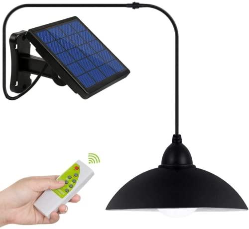 Luz Solar Exterior, Fichaiy Focos LED Exterior Solares con IP65 Impermeable,control remoto ,Línea de 5 m para Terraza/Jardín/Hogar /Garaje(luz blanca )