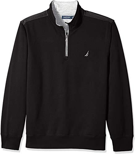 Nautica Men's 1/4 Zip Pieced Fleece Sweatshirt, True Black, Large