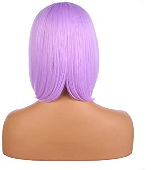 """eNilecor Short Bob Hair Wigs 12"""" Straight with Flat Bangs Synthetic Colorful Cosplay Daily Party Wig for Women Natura..."""