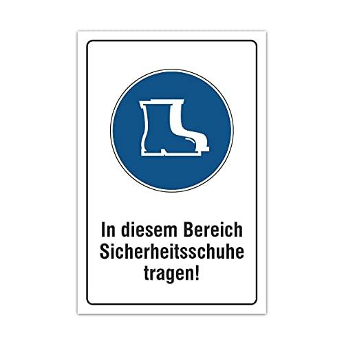 Aluverbund Hinweis Schild 30x20cm Wetterfest Kratzfest UV beständig - Sicherheitsschuhe tragen