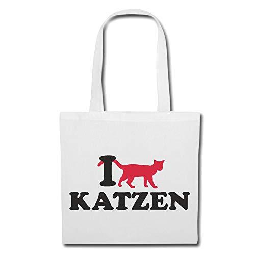 Tasche Umhängetasche I Love Katzen - Hauskatze - RASSEKATZE - KATZENHALTUNG - KATZENSPIELZEUG Einkaufstasche Schulbeutel Turnbeutel in Weiß