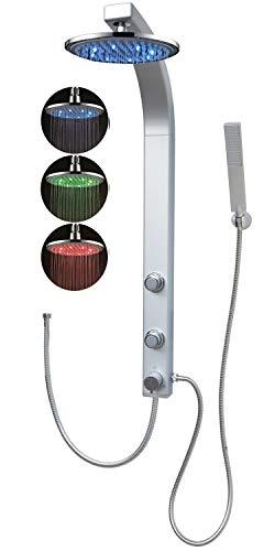 Duschpaneel Led Regendusche Duschsystem Massagedüsen Wellnessdusche Silber Eckmontage