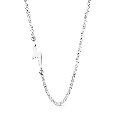 Iyé Biyé Jewels Colgante Mujer Collar Plata de Ley 925 Rayo con Cadena Rolo 42 cm Ajustable Cierre Reasa