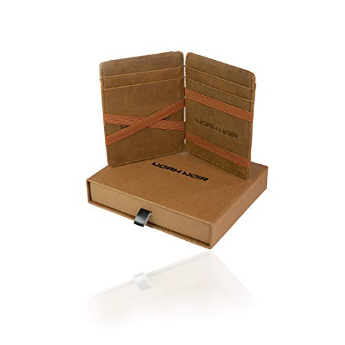 Noah Noir Magic Wallet mit Münzfach - TÜV Geprüfter RFID Schutz (8 Kartenfächer) Magischer Geldbeutel mit Geschenkbox (Owl)