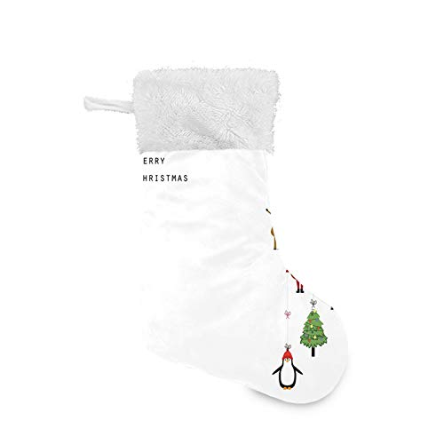 TENJONE Christmas Stocking Hanging Decoration Holiday Ornaments Home Decor Toys Candy Gift Bag,Stylized Reindeers Santa Claus Penguins and Xmas Tree on Stripes Cute Design 1 Pack