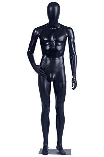 Eurohandisplay männliche Schaufensterpuppe MC-1Black matt schwarz Arme und Kopf 360 Grad drehbar Schaufensterpuppe Male Mannequin