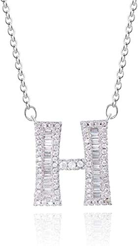 Necklace H - Silver Long Chain Letter Necklace Pendant for Women Cubic Zirconia Crystal DIY Name Necklace Initial Charms Necklace Gift