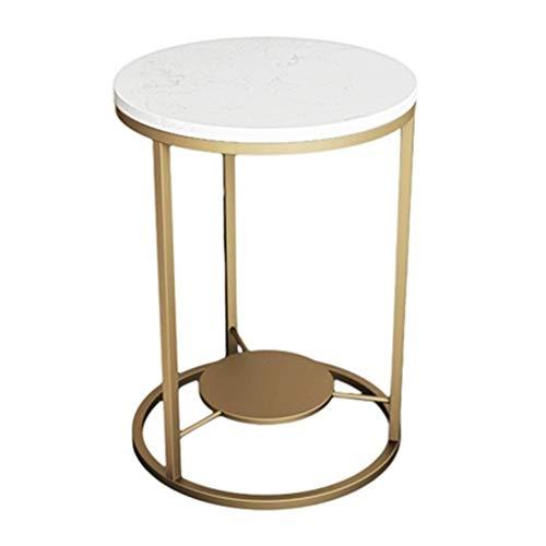 Tables basses Coin Rond Canapé Petite Table Ronde Salon Table De Chevet Double Petite Cadeau (Color : Gold, Size : 40 * 40 * 55cm)