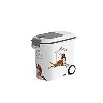 CURVER | Conteneur à croquettes 35L/12Kg- love pets Chien, Blanc, 27,8 x 49,3 x 42,5 cm, Plastique