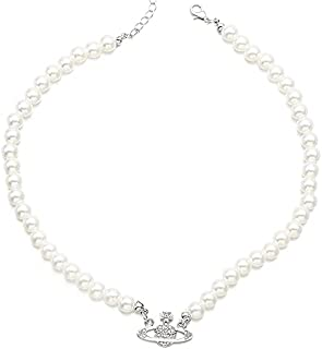 Evazen Pearl Penadnt Necklace Planet Choker Necklaces Crystal Saturn Fashion Chain Jewelry for Women and Girls