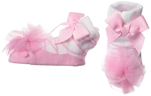 Mud Pie Girls' Baby-Newborn Tulle Puff Socks, Pink, 0-12 Months
