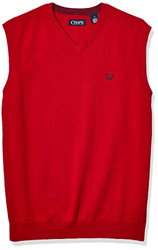 Chaps Men's Cotton V-Neck Sweater Vest, Park Avenue Red, M