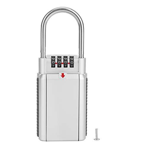 Caja de bloqueo de llaves, caja de seguridad exterior para llaves de la casa - Caja de bloqueo de almacenamiento para ocultar llaves, gran capacidad con lazo de grillete extraíble para(Plata)