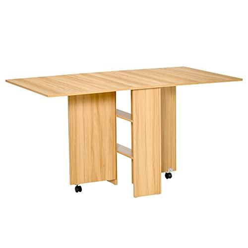 homcom Tavolo da Pranzo Pieghevole Design Moderno Ruote Ripiani Portaoggetti 140 × 80 × 74cm