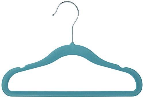 Amazon Basics Kinderkleiderbügel mit Samtbezug, 50er-Pack, Blau