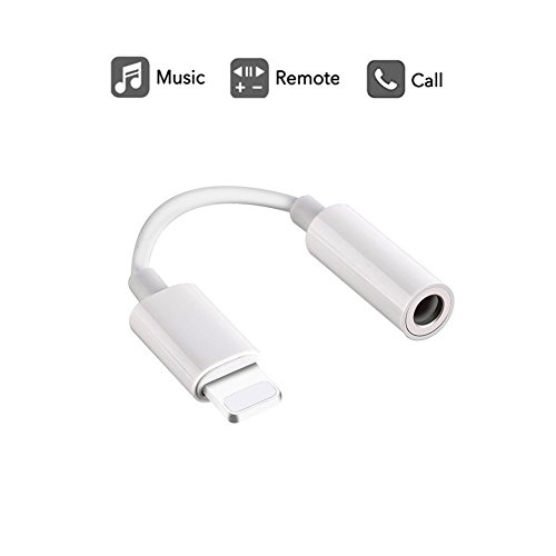Labobbon 3.5mm Headphone Jack Adapter, Connector for iPhone 11/11 Pro/11 Pro Max/Xs/Xs Max/XR/iPhone 8/8 Plus/X (10) / 7/7 Plus, Music Control  Calling Function Supported-White
