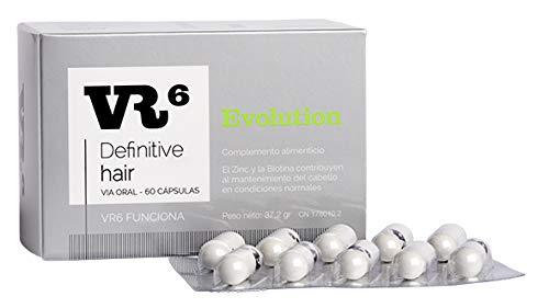 VR6 Definitive Hair Evolution Suplemento Nutricional anti-caída de cabello   Zinc, Biotina L-Cistina, Vitamina B6, Saw Palmetto   60 Capsulas.