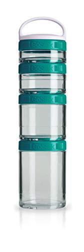 BlenderBottle GoStak Behälter zum Aufbewahren von Protein, Eiweiß, Pulver, Vitaminen und mehr- Starter 4Pak inkl. Henkel (150ml, 100ml, 60ml und 40ml), teal
