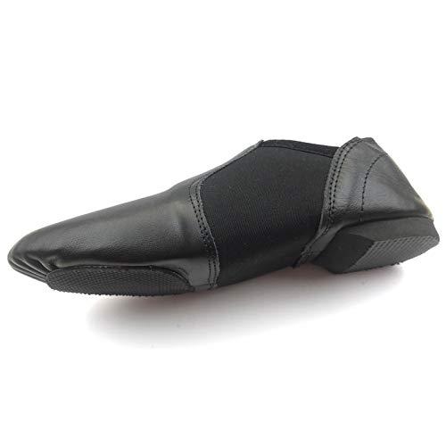 TOROMAX Supper Easy Slip On Jazz Dance Shoes Soft Leather Neoprene Jazz Dance Shoes Black Numeric10