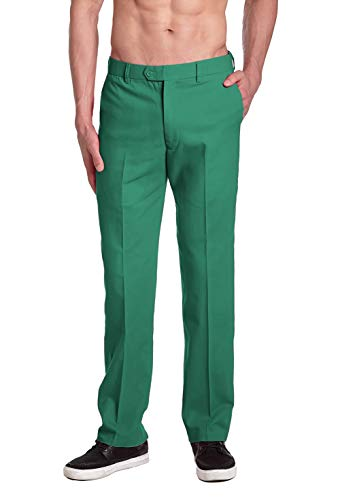 CONCITOR Men's COTTON Dress Pants EMERALD GREEN Trousers Flat Front 34 x 32