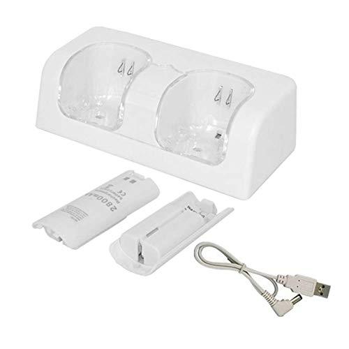 GCDN Double à Distance Charge Station Chargeur Station avec 2 Rechargeable 2800mAh Piles & LED Light Clignotant Socle pour Jeu Wii Manette