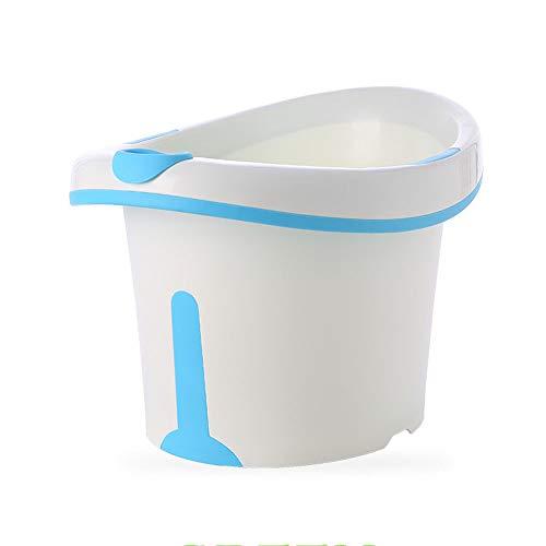 Bañera de bebé vertical de gran espacio, doble capa de refuerzo con bordes de refuerzo termostático, cubo de ducha, seguro e íntimo, azul