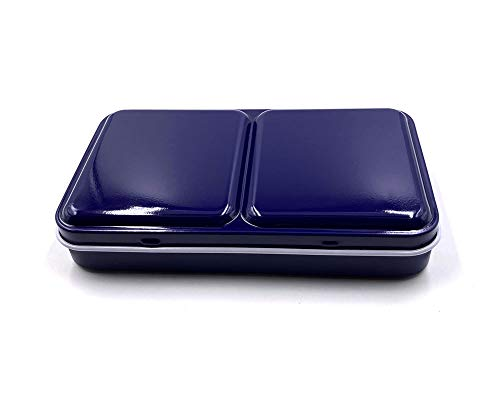 Aliotech Travel Artist Empty Watercolor Tins Box Palette Paint Case,Small Colorful Tin with 12 Pcs Half Pans (Deep Blue)