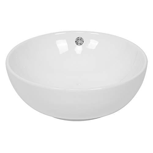 Lavabo sobre encimera Lavabo de baño Lavabo de cerámica Redondo Moderno sobre encimera Lavabo de cerámica Lavabo encastrable Lavabo Empotrado Lavabo de Cobre