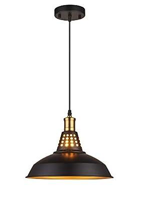 Amabao Lighting, 1 Light, Matte Black Metal Industrial Barn Kitchen Island Pendant Light Fixture, E26 7W LED Bulb Included