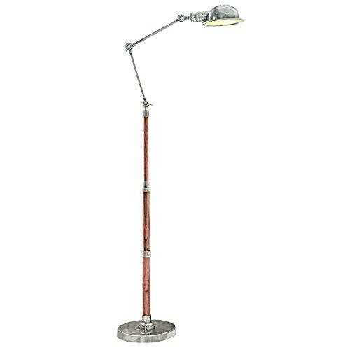 Loberon Stehlampe Memphis, Messing, Holz, H/Ø ca. 187/24,5 cm, antiksilber/braun, E27, max. 40 Watt, von A++ bis E