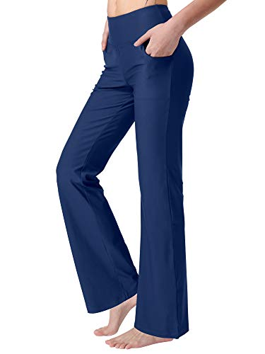 Zeronic Women's Bootleg Yoga Pants with Pockets Long Bootcut Workout Running Pants Tummy Control Pockets Work Pants for Women(Blue,XL)