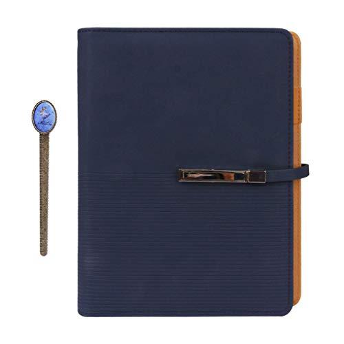 Cuaderno de tapa dura A5 de piel sintética rellenable con soporte para bolígrafos y tarjetero en espiral para viaje, bloc de notas, 100 hojas, bloc de notas para oficina y escuela, color azul