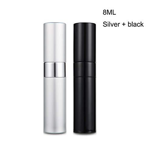 Love lamp 15ml sous-Bouteille Parfum Voyage Rechargeables Atomiseur Bouteille Bouteille en Aluminium Body Spray délicat Peut être transporté Partout (Color : Black+Silver 15ml)